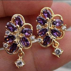 NWT 18k yellow gold filled amethyst earrings